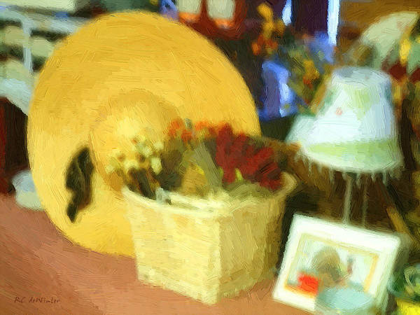 Basket Art Print featuring the digital art Still Life With Straw Hat by RC DeWinter