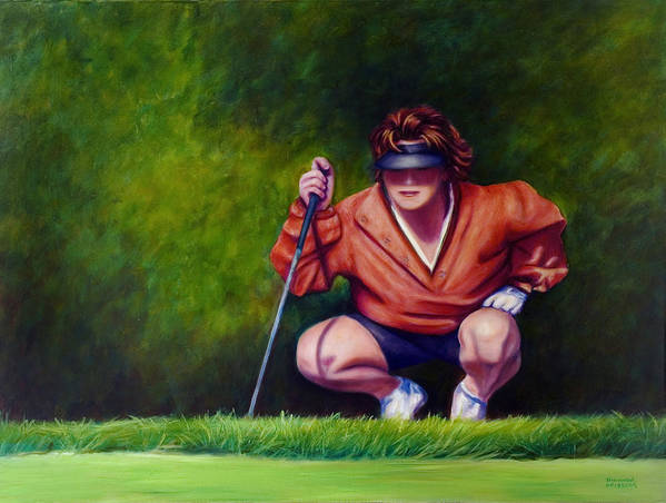 Golfer Art Print featuring the painting Straightshot by Shannon Grissom