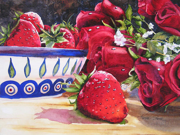 Strawberries Art Print featuring the painting Strawberries And Roses by Karen Stark