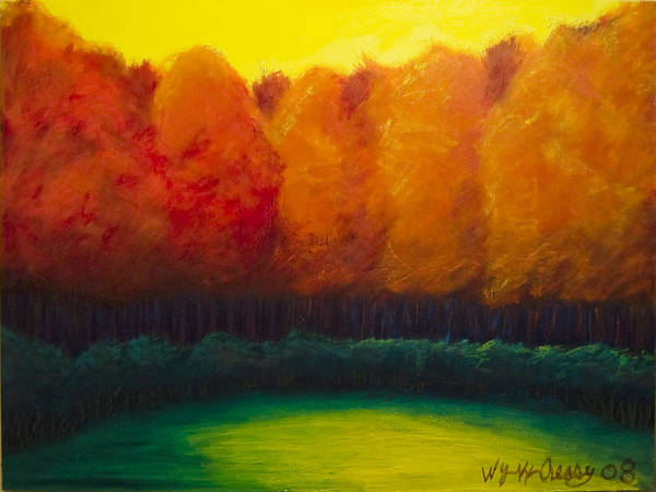Abstract Landscape Art Print featuring the painting Study In Orange by Wynn Creasy