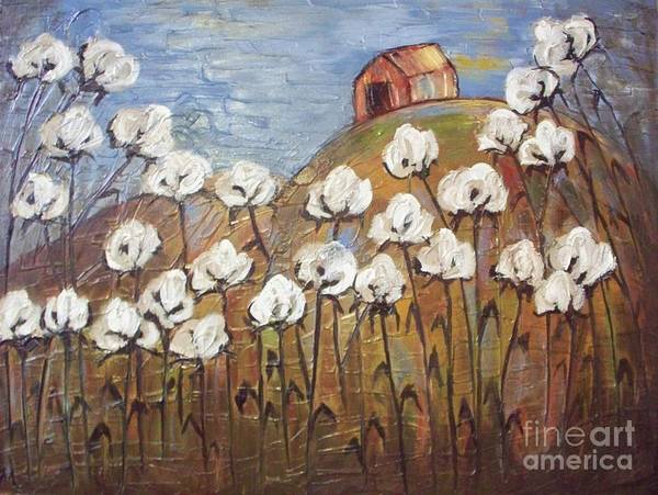 Cotton Art Print featuring the painting Summer Cotton by Emily Martinez
