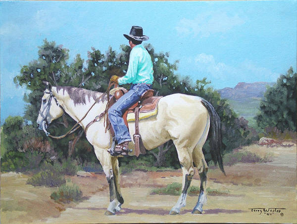 Cowboy Art Print featuring the painting Summer Cowboy by Terry Wester