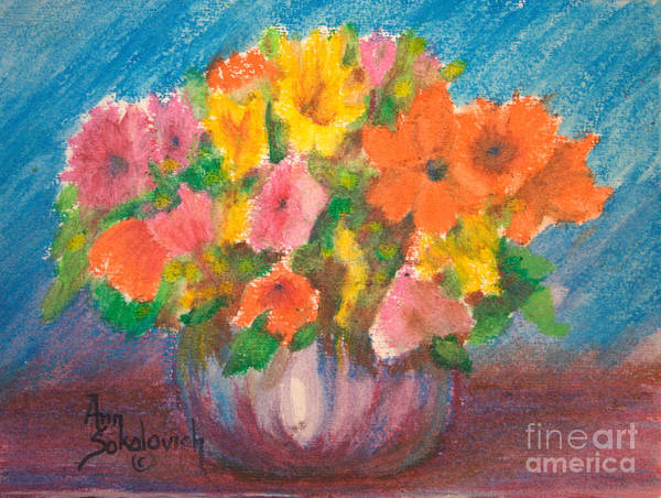 Sokolovich Art Print featuring the painting Summer Flowers by Ann Sokolovich