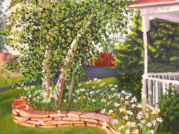 Daisies Art Print featuring the painting Summer Garden by Lea Novak