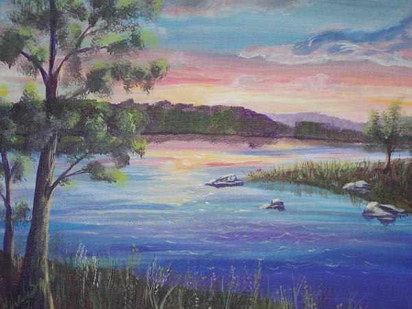 Sunset Art Print featuring the painting Summer Sunset On Fish Lake by Wendy Smith