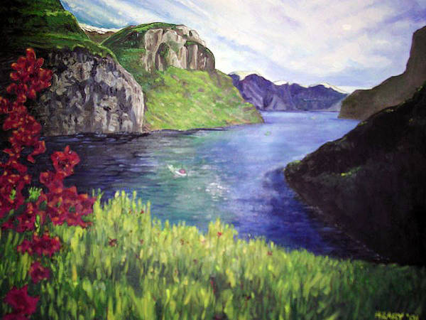 Summer Landscape Flowers Impressionist River Mountains Art Print featuring the painting Summer's Zenith by Hilary England