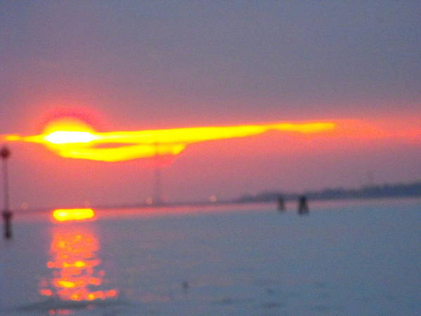 Landscaper Seascapes Sunset Art Print featuring the photograph Sun Sets Over Venice IIi by Viviana Puello Villa