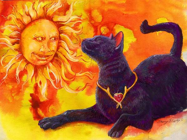 Cat Art Print featuring the painting Sun Worshiper by Sherry Shipley