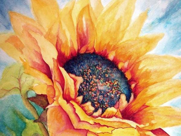 Sunflower Art Print featuring the painting Sunflower Joy by Janine Riley