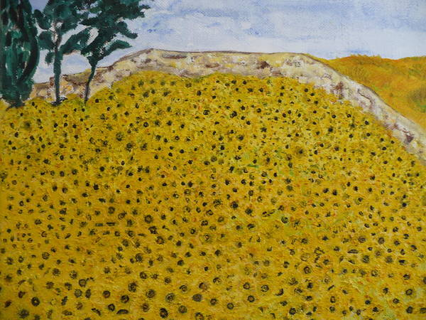 Blue Sky Of The Midi. Art Print featuring the painting Sunflowers Field 1998. by Corinne de la garrigue