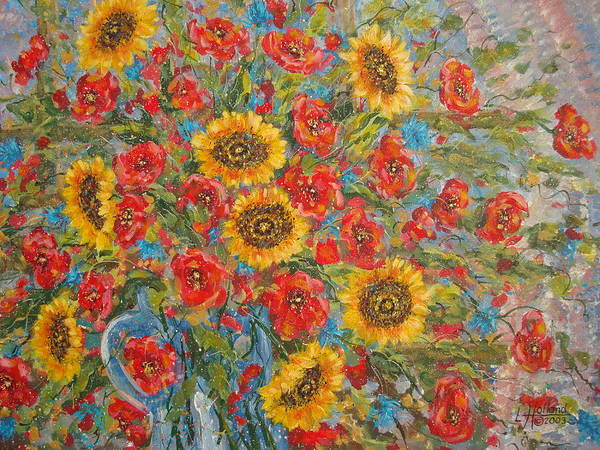 Flowers Art Print featuring the painting Sunflowers In Blue Pitcher. by Leonard Holland