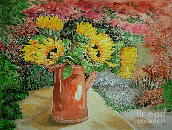 Garden Art Print featuring the painting Sunflowers In Copper by Yvonne Johnstone