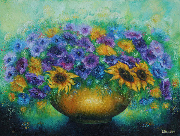 Flowers Art Print featuring the painting Sunflowers No 2. by Evgenia Davidov