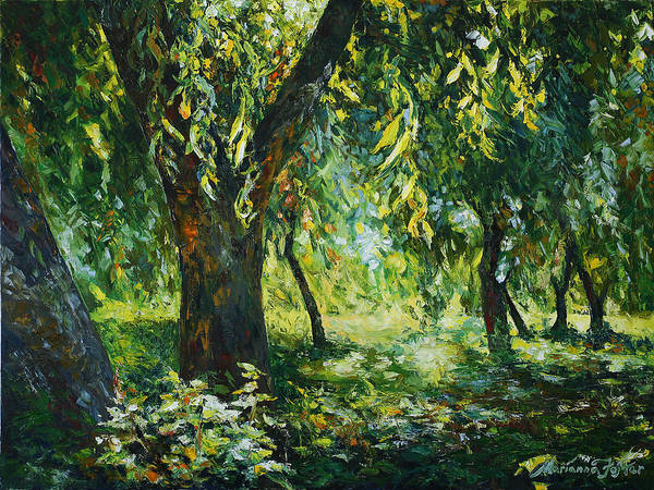 Sunlight Art Print featuring the painting Sunlight Into The Willow Trees by Marianna Foster