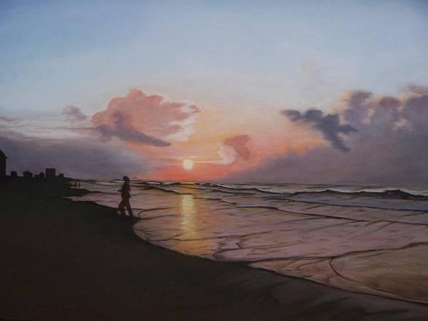 Beach Art Print featuring the painting Sunrise Silhouette by Cynthia Ablicki