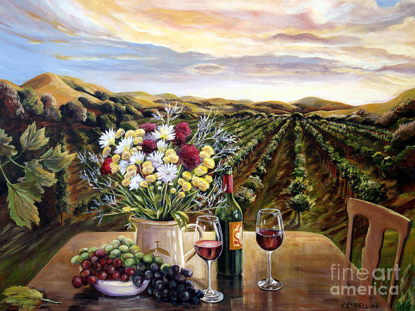 Sunset Art Print featuring the painting Sunset At The Vineyards by Nancy Isbell