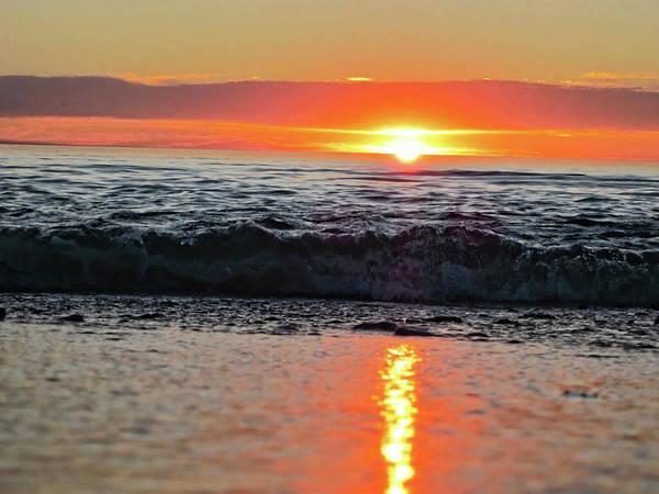 Waves Print featuring the photograph Sunset Beach by Douglas Barnard