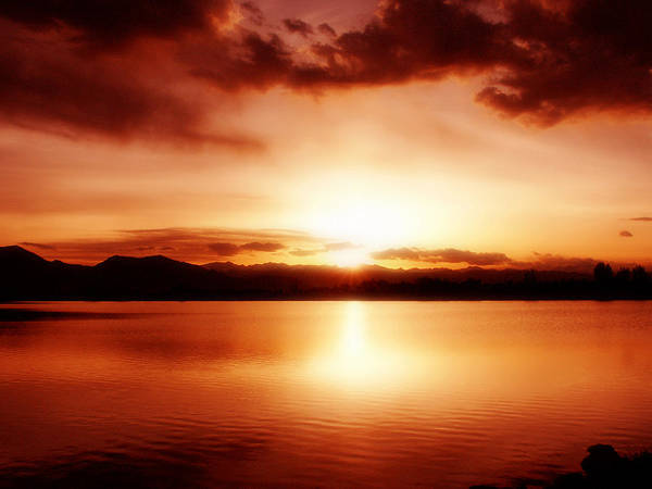 Lake Art Print featuring the photograph Sunset by Marilyn Hunt