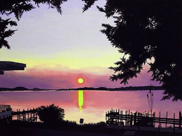 Sunset On Lake Art Print featuring the painting Sunset On Lake Dora by Judy Swerlick