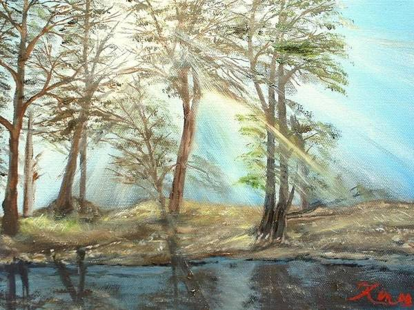 Landscape River Trees Sunshine Reflections Art Print featuring the painting Sunshine by Kenneth LePoidevin