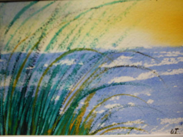 Seashore Watercolor Landscape Art Print featuring the painting Surf And Sky by Warren Thompson