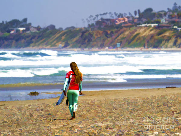 California Art Print featuring the digital art Surfer Girl At Seaside, Ca by Waterdancer
