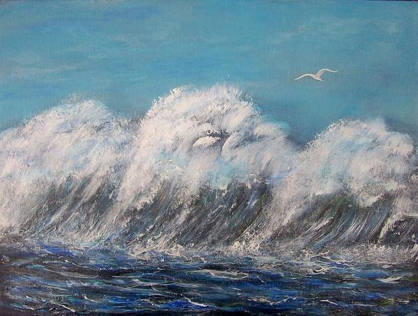 Surreal Tsunami Art Print featuring the painting Surreal Tsunami by Tony Rodriguez