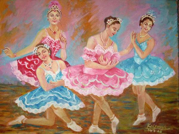 Ballet Dancers Print featuring the painting Swan Lake by Kalpana Talpade Ranadive