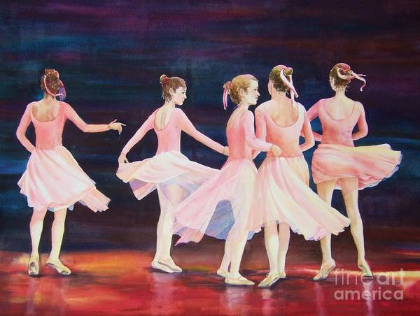Ballet Dance Paintings Print featuring the painting Swivel Circle Spin Whirl And Twirl by Deb Magelssen