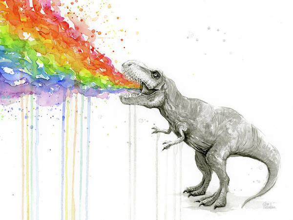 T-rex Art Print featuring the painting T-rex Tastes The Rainbow by Olga Shvartsur