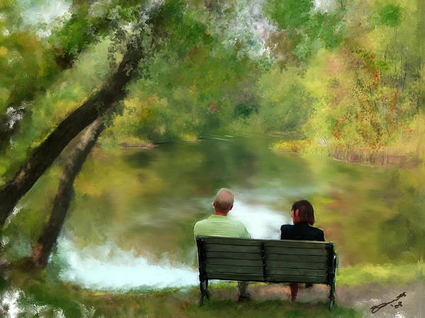 Summer Art Print featuring the painting Talking It Over by Eddie Durrett