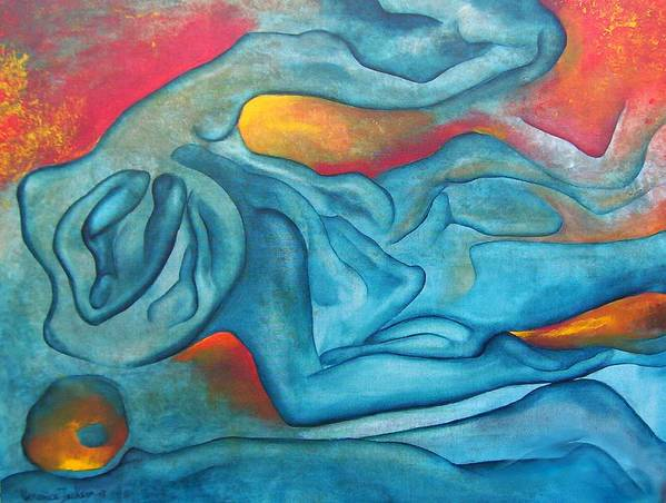 Abstract Blues Love Passion Sensual Earth Art Print featuring the painting Tangled Up by Veronica Jackson