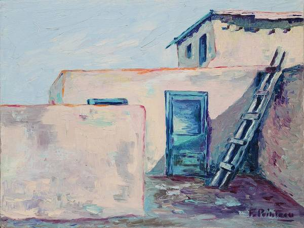Taos Art Print featuring the painting Taos Dwelling by Francoise Villibord Pointeau