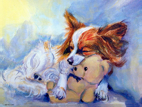 Papillon Dog Art Print featuring the painting Teddy Hugs - Papillon Dog by Lyn Cook