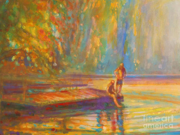 Boys Swimming Art Print featuring the painting Testing The Water by Kip Decker