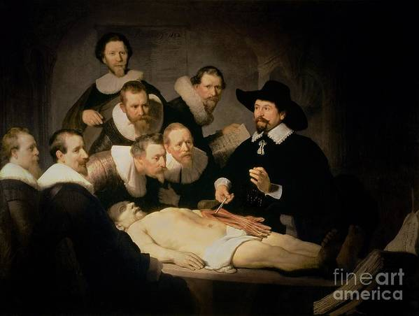 The Art Print featuring the painting The Anatomy Lesson Of Doctor Nicolaes Tulp by Rembrandt Harmenszoon van Rijn
