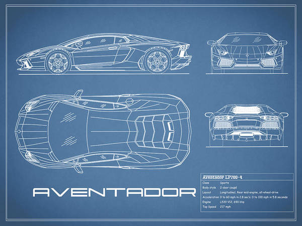 The aventador blueprint art print by mark rogan lamborghini aventador art print featuring the photograph the aventador blueprint by mark rogan malvernweather Choice Image