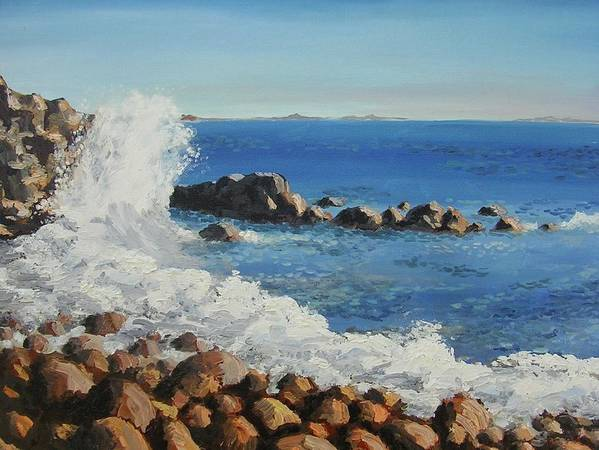 Seascape Art Print featuring the painting The Bay by Janos Szatmari
