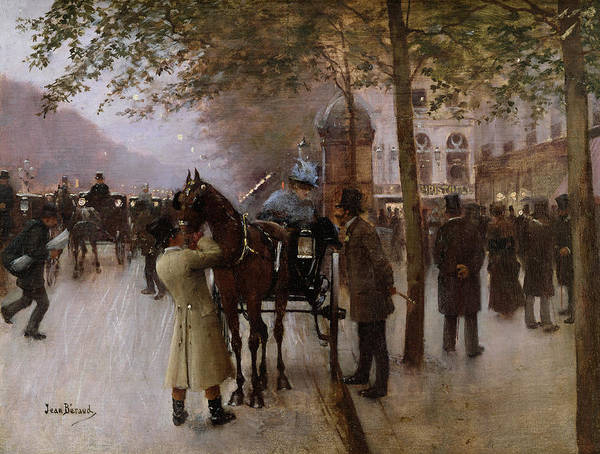 Traffic Art Print featuring the painting The Boulevards by Jean Beraud