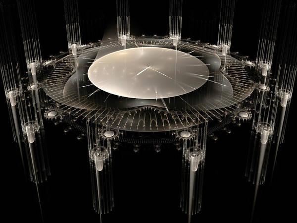 Fractal Art Print featuring the digital art The Crystal Clock by Richard Ortolano