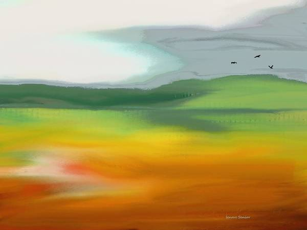 Abstract Art Print featuring the painting The Distant Hills by Lenore Senior