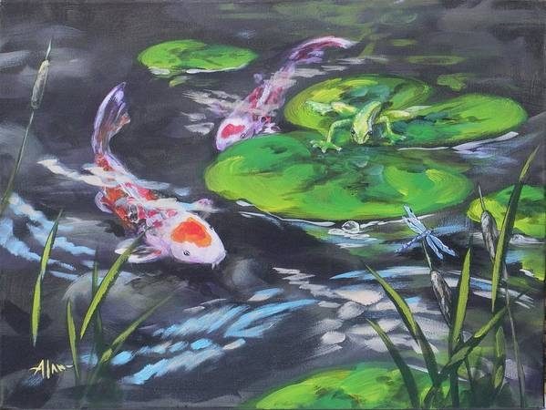 Koi Fish Frog Dragonfly Water Waterscape Lily Pad Pond Cattails Green Blue Red White Nature Art Print featuring the painting The Drag Race by Alan Scott Craig