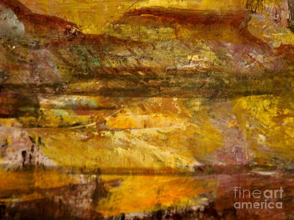 Abstract Mountain And Lake Landscape Art Print featuring the painting The Gold Light by Nancy Kane Chapman