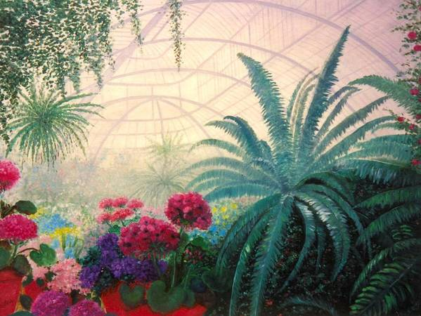 Greenhouse Art Print featuring the digital art The Green House by Jeanene Stein