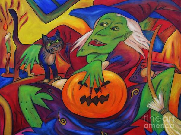 Diconnollyart Art Print featuring the painting The Happy Witch Cat And Pumpkin by Dianne Connolly