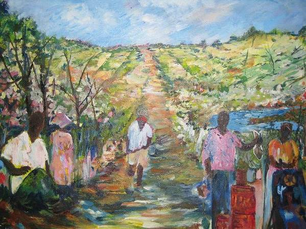 Folk Art Print featuring the painting The Harvest by Impressionist FineArtist Tucker Demps Collection