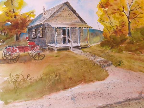 Red Buggy Art Print featuring the painting The Home Place by Kris Dixon