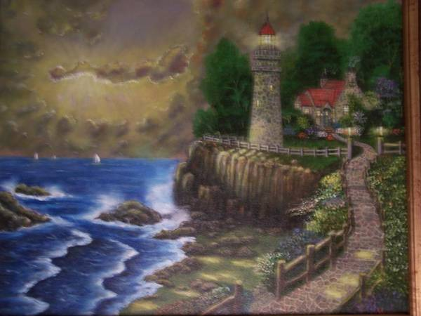 Ocean Art Print featuring the painting The Light by Charles Vaughn