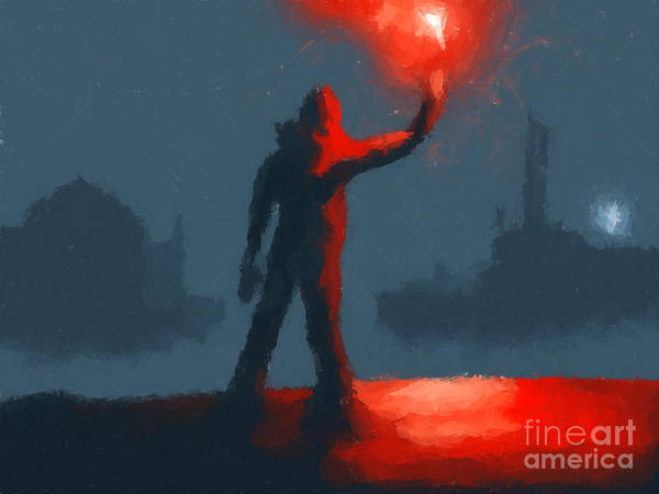 Fantasy Art Print featuring the painting The Man With The Flare by Pixel Chimp