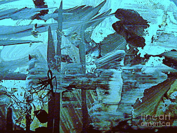 Abstract Environmental Painting Art Print featuring the painting The Mighty Flood by Nancy Kane Chapman